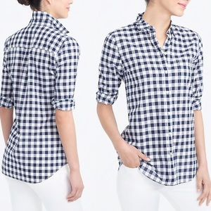 JCrew Gingham classic button-down boy fit shirt S
